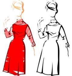 retro fashion sketches vector image