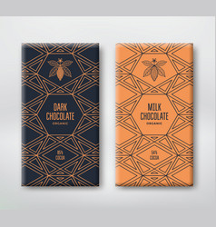 set realistic vertical chocolate banners vector image