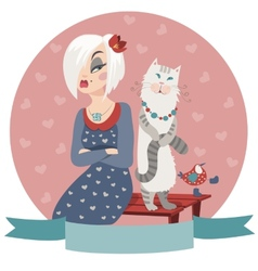 Woman offended by cat vector image vector image