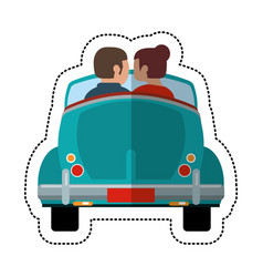 couple driver car lovely vector image vector image