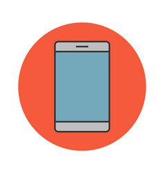 mobile phone flat line icon vector image vector image