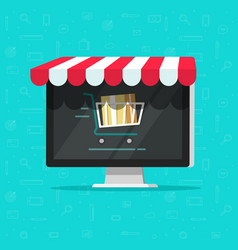 online shop on computer e vector image vector image