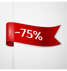 Red ribbon with inscription 75 percent discounts vector image vector image