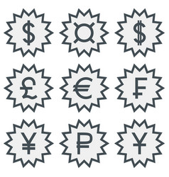 set of icons with different currency symbols vector image