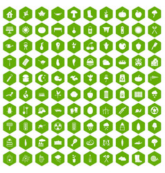 100 vegetables icons hexagon green vector