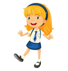 A girl in school uniform vector