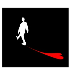 A Man Walking with Shadow of Heart vector