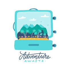 adventure awaits - lettering quote open travel vector image
