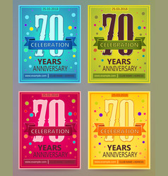 Anniversary flyers or invitations templates vector