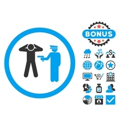 Arrest Flat Icon with Bonus vector image