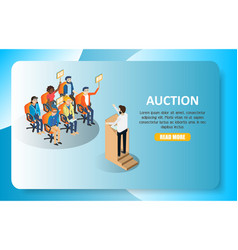 Auction isometric web banner website vector