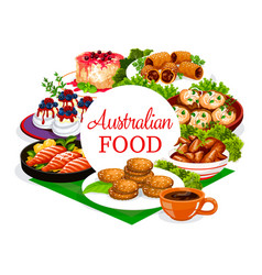 Australian cuisine food menu meat and fish dishes vector