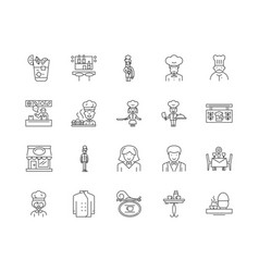bars and restaurants line icons signs set vector image