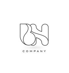 bn monogram letter logo with thin black monogram vector image