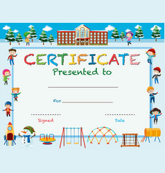 Certificate template with kids in winter at school vector