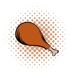 Chicken meat on the bone comics icon vector