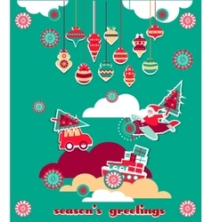 Christmas Greeting Scrap Elements Set vector image