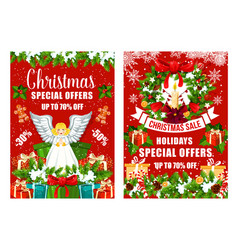 christmas sale holiday discount posters vector image