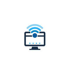 Computer wifi logo icon design vector