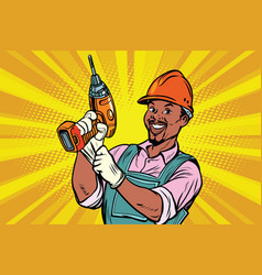 construction african american worker with the vector image
