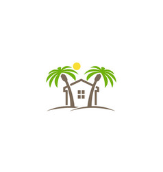 creative house palm sun logo design symbol vector image