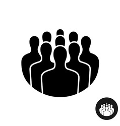 Crowd people black silhouette icon social vector