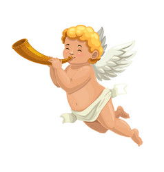 Cupid angel or amur character blowing horn vector
