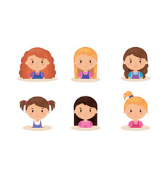 Cute and little girls group vector