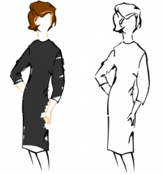 cute girl vintage fashion sketches vector image