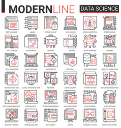 data science complex thin red black line icon vector image