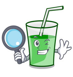 detective green smoothie character cartoon vector image