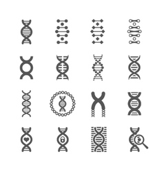 DNA spiral black icons set for chemistry or vector