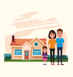 Family outdoors from home cartoon vector