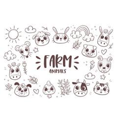 Farm animals doodle background vector