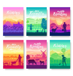farming life brochure cards set take care of the vector image