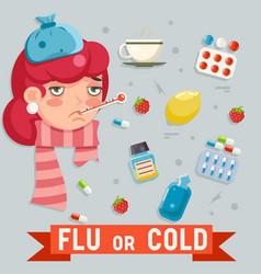 female cold flu disease illness sickness medicine vector image