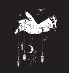 Female hand with gem pendants and moon vector
