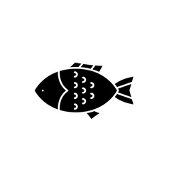 fish black icon sign on isolated vector image