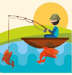 Fishing people cartoon vector