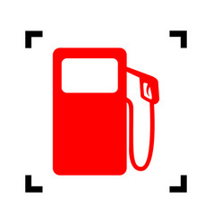 Gas pump sign red icon inside black focus vector