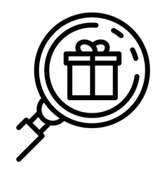 Gift box magnifier icon outline style vector