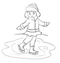girl in winter clothes skates on a pond drawing vector image