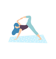 girl practicing yoga pose physical workout vector image