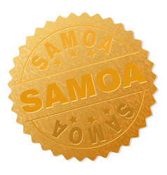 Gold samoa badge stamp vector