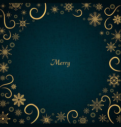 gold snowflake with bubble on navy blue vector image