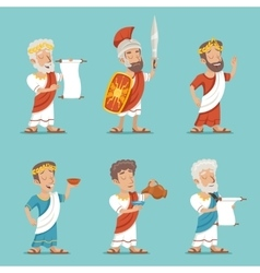 Greek Roman Retro Vintage Character Icon Set vector