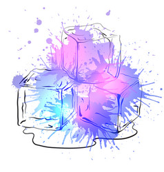 Hand drawn ice cubes with watercolor splashes vector