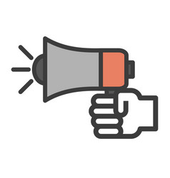 hand icon holding speaker simple vector image