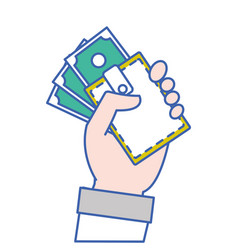 hand with bill cash money and wallet vector image