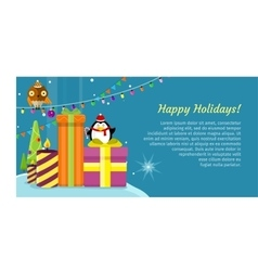 happy holidays web banner merry christmas vector image